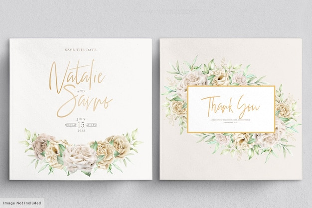 Conjunto minimalista de cartões de casamento rosas brancas