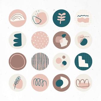 Conjunto mínimo de ícones sociais de doodle em destaque