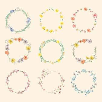 Conjunto misto de moldura de flores redondas