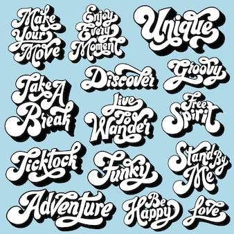 Conjunto misto de tipografia motivacional