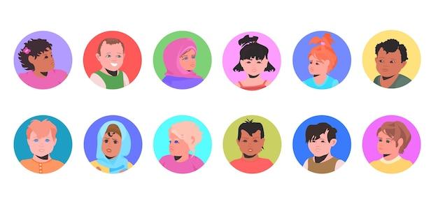 Conjunto mistura raça crianças avatares crianças pequenas rostos coleção retratos de personagens de desenhos animados