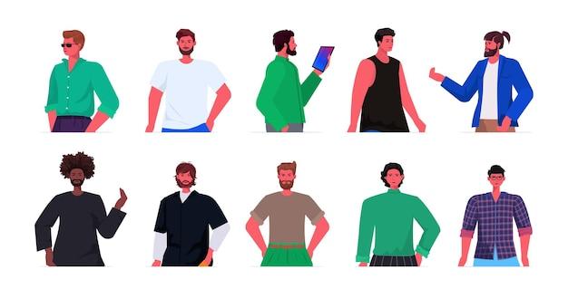 Conjunto mistura raça jovens em roupas da moda casuais personagens masculinos de desenhos animados coleção retrato de avatares