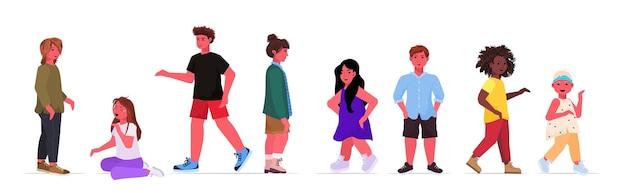 Conjunto mistura raça meninos meninas crianças fofas em pé pose feminino masculino personagens de desenhos animados coleção ilustração horizontal de corpo inteiro