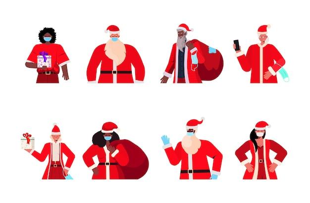 Conjunto mistura raça santa homens mulheres com máscaras ano novo natal feriados celebração coronavirus quarentena conceito ilustração horizontal
