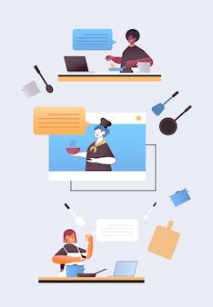 Conjunto mix corrida chefs preparando comida online cozinhar conceito de escola de culinária virtual ilustração vertical