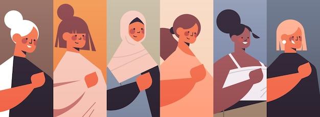 Conjunto mix corrida meninas avatares clube das mulheres união de feministas conceito retratos coleção ilustração vetorial horizontal