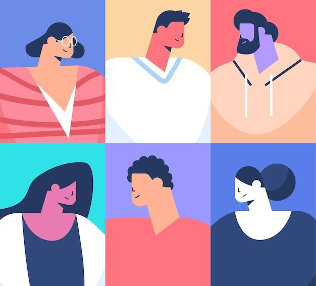 Conjunto mix corrida pessoas avatares coleção masculino feminino personagens de desenhos animados retratos ilustração vetorial