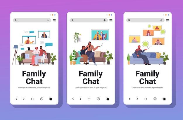 Conjunto mix raça avós pais e filhos tendo uma reunião virtual durante a videochamada familiar chat conceito de comunicação coleção de telas de smartphone horizontal