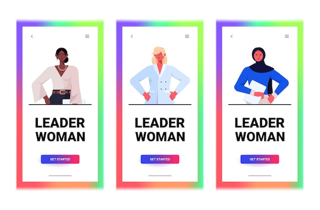 Conjunto mix raça empresárias líder em roupas formais de sucesso mulheres de negócios liderança melhor conceito chefe feminino trabalhadores de escritório coleção retrato ilustração vetorial horizontal