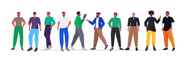 Conjunto mix raça homens jovens em roupas da moda casuais juntos personagens masculinos de desenhos animados
