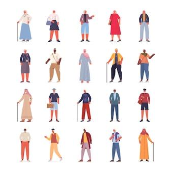 Conjunto mix raça idosas homens em roupas da moda casuais sênior feminino masculino coleção de personagens de desenhos animados