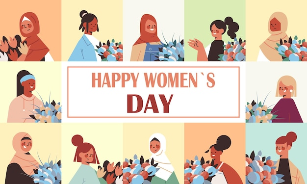 Conjunto mix raça mulheres com flores celebrando o dia das mulheres 8 de março feriado celebração conceito retrato ilustração horizontal
