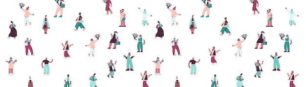 Conjunto mix raça mulheres segurando buquês feminino dia 8 de março feriado celebração conceito padrão sem emenda ilustração horizontal de comprimento total