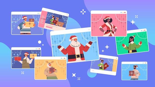 Conjunto mix raça pessoas discutindo durante a videochamada feliz ano novo, feliz natal, feriados, celebração, conceito, janela, navegador web, auto-isolamento, comunicação online, retrato, vetorial, illustrat horizontal