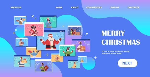 Conjunto mix raça pessoas discutindo durante a videochamada feliz ano novo feliz natal feriados celebração navegador da web janelas auto-isolamento comunicação on-line retrato cópia espaço horizontal vector illus