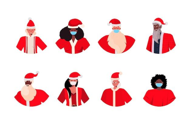 Conjunto mix raça santa homens mulheres com máscaras ano novo natal feriados celebração coronavirus quarentena conceito avatares coleção ilustração horizontal