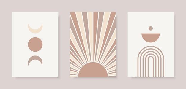 Conjunto moderno de arco de fases da lua e estampas abstratas do sol