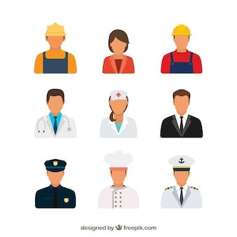 Conjunto moderno de avatares planos