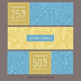 Conjunto moderno de banners de venda de outono
