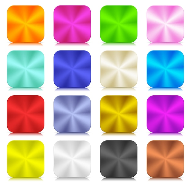 Conjunto moderno de botões coloridos 3d neumórficos metálicos