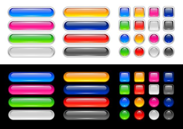 Conjunto moderno de botões neumorosos brilhantes