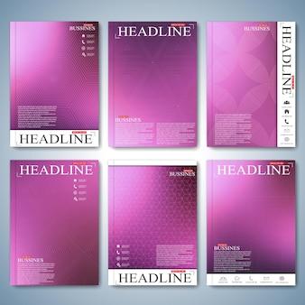 Conjunto moderno de capa de folheto folheto ou relatório anual