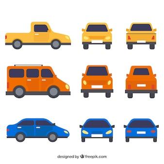 Conjunto moderno de carros coloridos