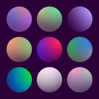 Conjunto moderno de círculos gradientes 3d