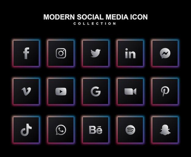 Conjunto moderno de coleção de ícones de mídia social escura