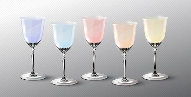 Conjunto moderno de copos vazios