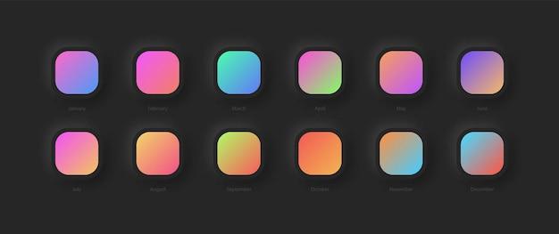 Conjunto moderno de diferentes esquemas de gradiente de cores vivas