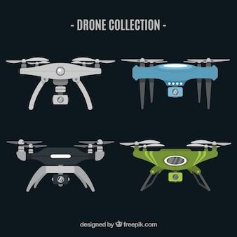 Conjunto moderno de drones voadores