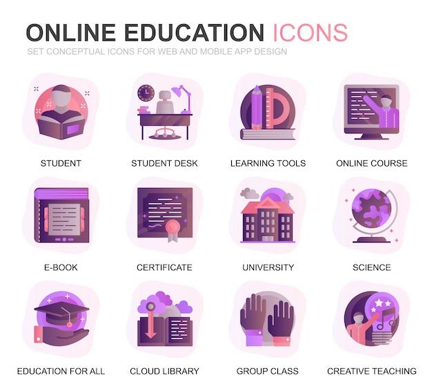 Conjunto moderno de educação e conhecimento gradiente plana ícones