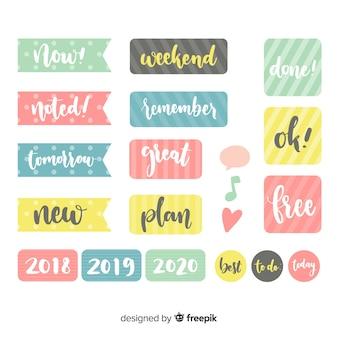 Conjunto moderno de elementos de planejamento colorido
