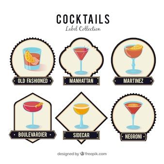 Conjunto moderno de emblemas cocktail