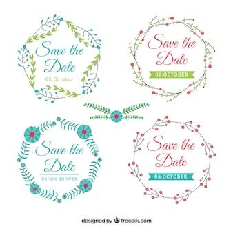 Conjunto moderno de etiquetas de casamento florais