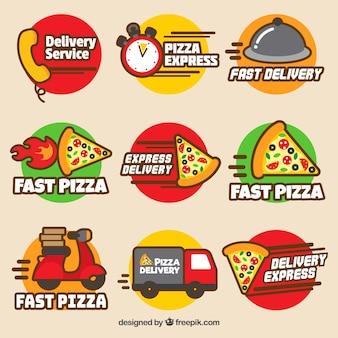 Conjunto moderno de etiquetas de entrega de pizza