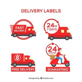 Conjunto moderno de etiquetas de entrega vermelhas