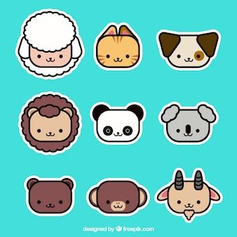 Conjunto moderno de faces de animais bonitos