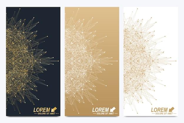 Conjunto moderno de folhetos. apresentação abstrata geométrica.