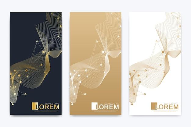 Conjunto moderno de folhetos científicos médicos de vetor. apresentação abstrata geométrica estrutura molécula átomo dna e fundo de comunicação. conceito de medicina, ciência, tecnologia, química.