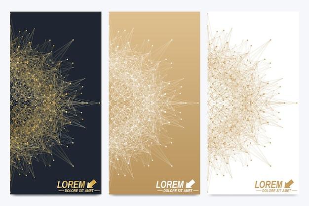 Conjunto moderno de folhetos de vetor. apresentação abstrata geométrica. molécula e fundo de comunicação para medicina, ciência, tecnologia, química. pontos cibernéticos dourados. plexo de linhas. superfície do cartão.