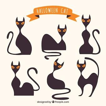 Conjunto moderno de gatos do dia das bruxas