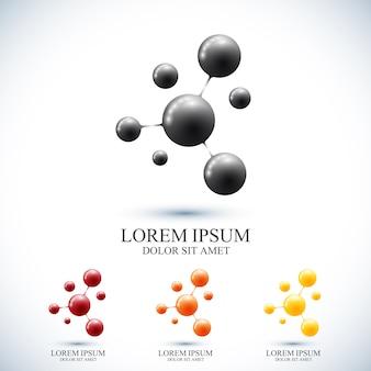 Conjunto moderno de ícone dna e molécula. modelo para medicina, ciência