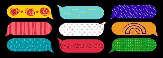 Conjunto moderno de ícones de bolhas de bate-papo coleção abstrata de bolhas de discurso