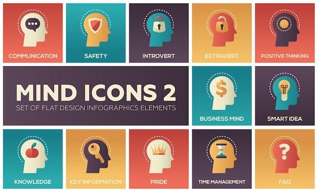 Conjunto moderno de ícones de mente de elementos de infográficos de design plano