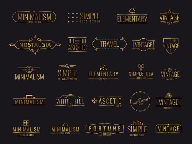 Conjunto moderno de logotipo de luxo dourado