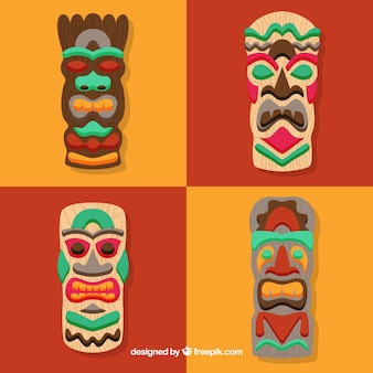 Conjunto moderno de máscaras tiki tradicionais