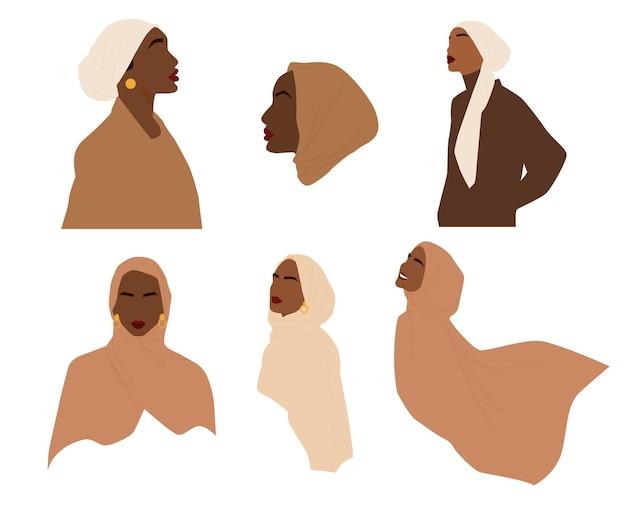 Conjunto moderno de mulheres abstratas em hijabs. linda garota muçulmana. mulher preta bonita. ilustração vetorial isolada no fundo branco.