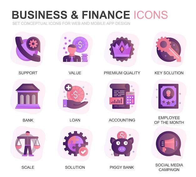 Conjunto moderno de negócios e finanças plano de ícones gradientes